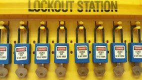 Lock out. & Tag out , Lockout station,machine - specific lockout devices and safety sign Stock Photo
