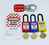 Lock out & Tag out , Lockout station,machine - specific lockout devices. And safety sign royalty free stock images