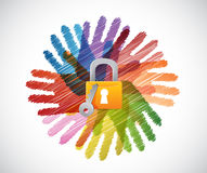 Lock over diversity hands circle illustration Royalty Free Stock Photo