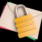 Lock Over Letters Shows Correspondence Safety Royalty Free Stock Images