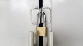 Lock padlock on a door Royalty Free Stock Image