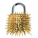Lock padlock security. Lock with pointy needles representing security and protection stock illustration
