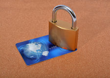 Lock and payment card on background Stock Photo