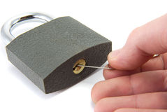 Lock picking. Royalty Free Stock Photo