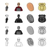Lock picks in hand, criminal hacker, fingerprint, police badge. Crime set collection icons in cartoon black monochrome Stock Image