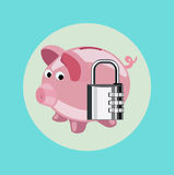Lock and piggy bank flat design vector Royalty Free Stock Photography