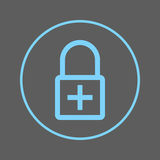 Lock with plus circular line icon. Add encryption Round colorful sign. Flat style vector symbol. Royalty Free Stock Image