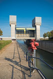 Lock PRINSBERNHARD SLUIS in tthe netherlands. TIEL, NETHERLANDS - SEPTEMBER 24, 2016: Lock Prins Bernhard in the Amsterdam-Rhine canal, with a fire extinguisher Stock Images
