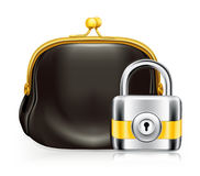 Lock and purse. Computer illustration Royalty Free Stock Images