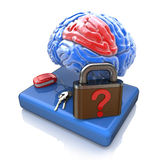 Lock with a question from the brain Royalty Free Stock Photo