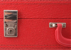Lock on a red vintage suitcase Stock Photos