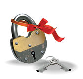 Lock with ribbon Stock Image