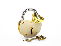 Lock and rings. The lock and wedding rings  on white Royalty Free Stock Photos