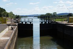 A lock on the River Saone, France Royalty Free Stock Images