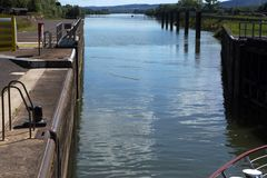 A lock on the River Saone, France Royalty Free Stock Photo