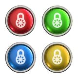 Lock icon glass button. Lock round shiny 4 color web icons with metal frame,3d rendered isolated on white background Stock Photos