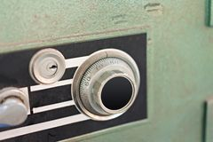 Lock on safe box of security metal stock images