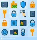 Lock safe elements. Business banking finance lock safe decorative icons  set isolated vector illustration Royalty Free Stock Photos