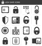Lock Safe Icon Set. Business banking finance lock safe icons  set of cash hand system padlock isolated vector illustration Stock Photo