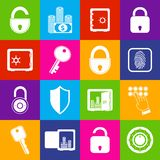 Lock safe icons. Business banking finance protection security lock icons  set of open and closed safes vector illustration Stock Image