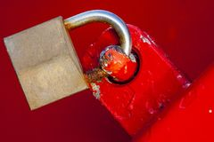 Lock secured doors. Concept lock safely closed doors Stock Photos
