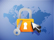 Lock security concept and world map illustration Stock Image