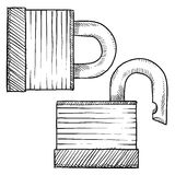 Lock security sketch Stock Photos