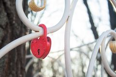 Heart lock. The lock in the shape of a heart. The concept of love and marriage. Romance. Valentine& x27;s Day royalty free stock image