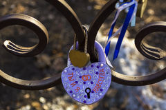 On the lock in the shape of a heart inscription in Russian stock photography
