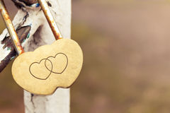 Lock in the shape of of two hearts. On old an iron tube Stock Images