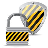 Lock and shield. On white background Stock Photo