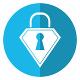 Lock shield protection security technology shadow blue circle Royalty Free Stock Image
