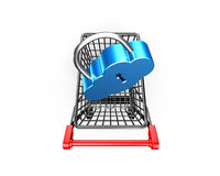 Lock on shopping cart, cloud connecting security concept, eD il Royalty Free Stock Image