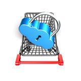 Lock in shopping cart, 3D rendering Stock Images