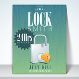 Lock smith flyer or brochure. Stock Images