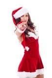 lock som pekar den santa kvinnan arkivfoto