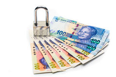 Lock and south affrica money, security Royalty Free Stock Photography