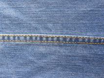 Lock Stitch. On blue color jeans stock image
