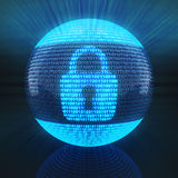 Lock symbol on globe formed by binary code Royalty Free Stock Image