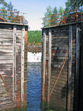 The lock system of Telemark Canal. Water flowing through a lock of the Telemark Canal Stock Images