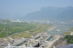 Lock Three Gorges Dam. In Yangtze River stock photo