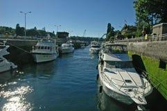 Lock Tie. Boats tied uo in the lock to Lake Washington in Seattle, WA Stock Image