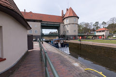 Lock trough. Kleinmachnow, Germany, April 12, 2015: A Boat in one of the two sluice trough in Kleinmachnow Royalty Free Stock Photography