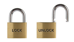 Lock and unlock. Lock in two position, locked and unlocked. Isolated on white background Stock Image