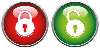 Lock and unlock button royalty free illustration