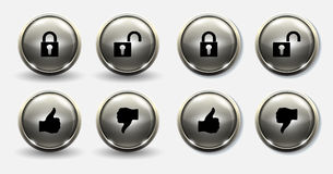 Lock and unlock buttons thumb. Gray button for lock unlock and thumbs up thumbs down Royalty Free Stock Images