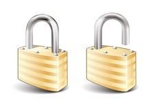 Lock and Unlock icon. Illustration,  on white background Stock Photos