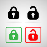 Lock and Unlock icons set great for any use. Vector EPS10. Royalty Free Stock Images