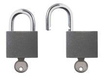Lock Unlock Padlock. Isolated photo of locked and unlocked padlock with key Royalty Free Stock Images