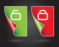 Lock and unlock signs Stock Photo